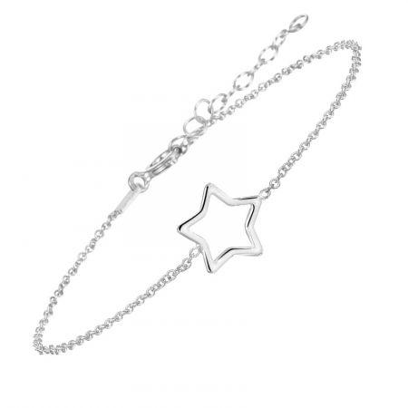 Zilveren armband ster 16 + 3 cm