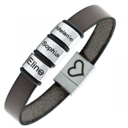 Leren armband met naam ringetjes