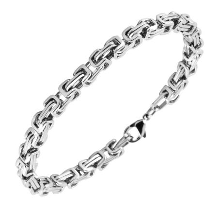 Stalen koningsschakel armband