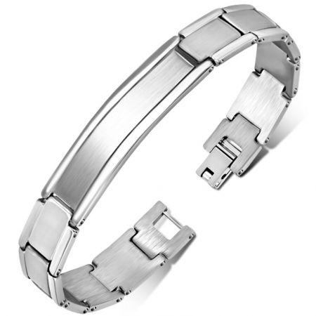 Stalen armband met graveerplaat 20 cm x 12mm