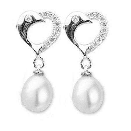 Zilveren oorhangers met parel -dolfijn