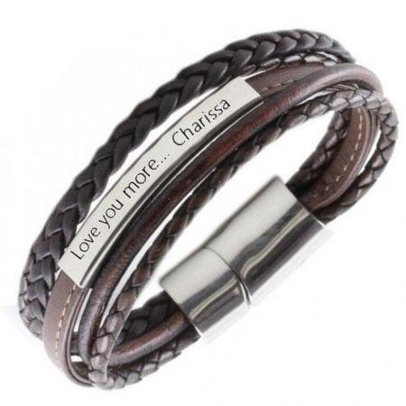 Leren Graveer Armband