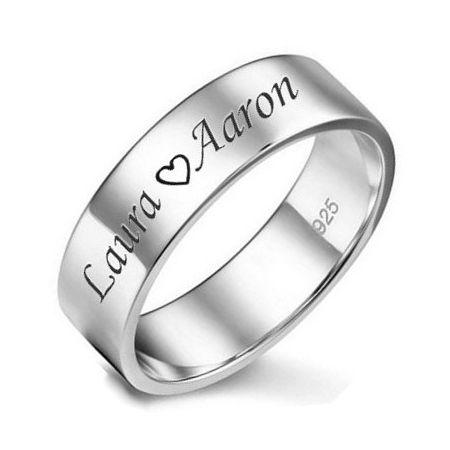 Zilveren ring met eigen naam of tekst 7mm