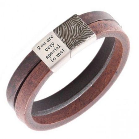 Leren Armband met Vingerafdruk