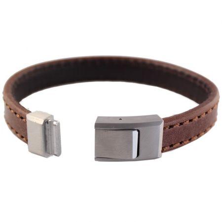 Leren Armband met graveerbare sluiting