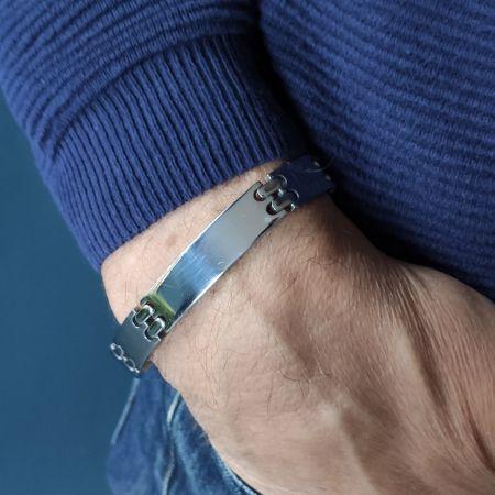 Stalen armband met graveerplaat 21,5cm x 12mm