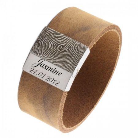 Vingerafdruk Armband met Stevige Leren Band
