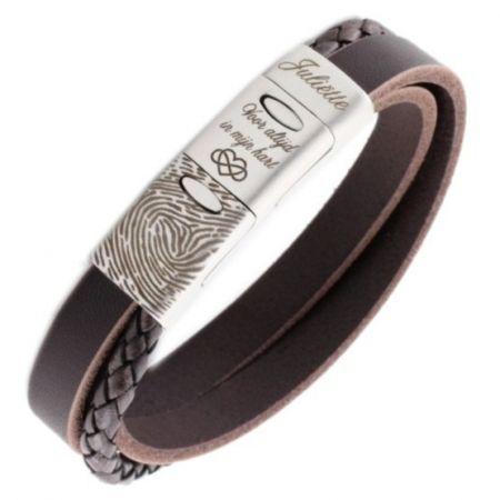 Vingerafdruk Armband van Edelstaal en Leer
