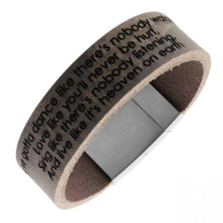 Leren armband met lasergravure