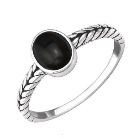 Zilveren ring met onyx steen