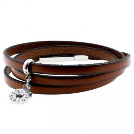 Leren armband met graveerbedel