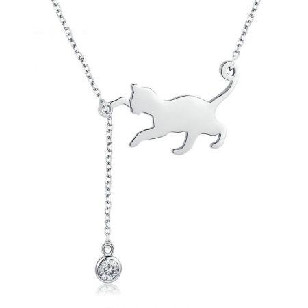 Halsketting cute cat met zirkonia